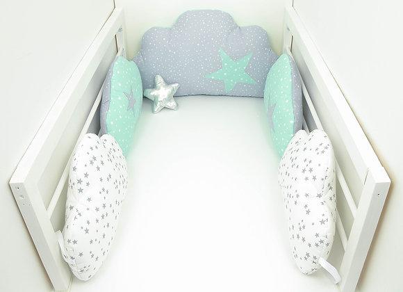 Tour de Lit nuage 5 coussins gris, blanc pluie d'étoiles et étoiles ver