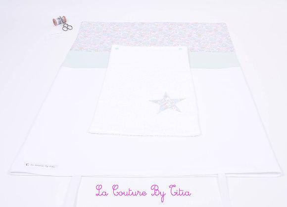 Housse de matelas à langer avec éponge blanc et étoiles Liberty betsy céladon