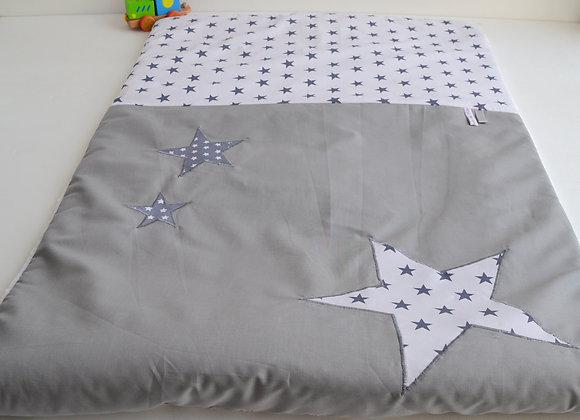 Couverture bébé personnalisable étoiles gris et blanc