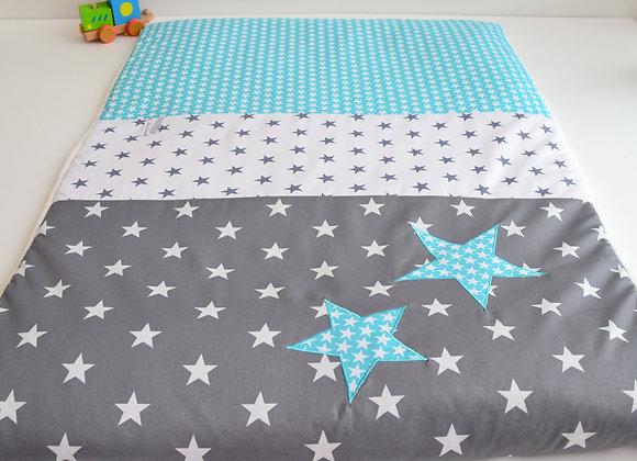 Couverture bébé personnalisable gris anthracite et étoiles turquoise