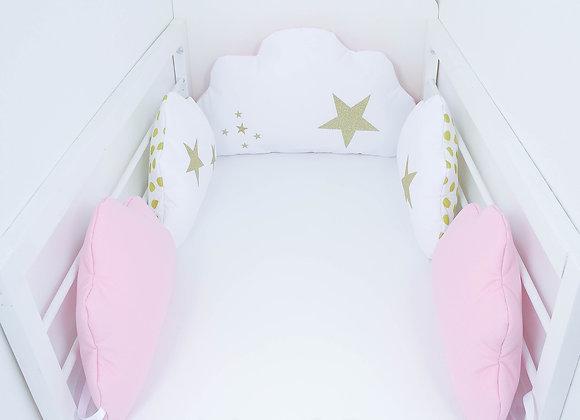 Tour de Lit nuage 5 coussins blanc, rose, pois dorées et étoiles or
