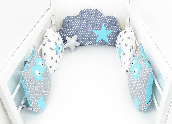 Tour de Lit nuage hibou 5 coussins gris à pois, blanc et étoiles bleu turquoise