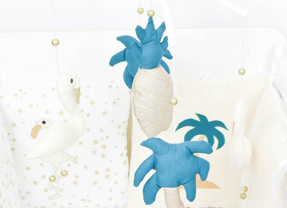 Mobile musical bébé beige et or ananas, flamand rose et palmier