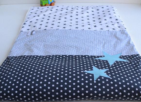 Couverture bébé personnalisable gris et étoiles turquoise