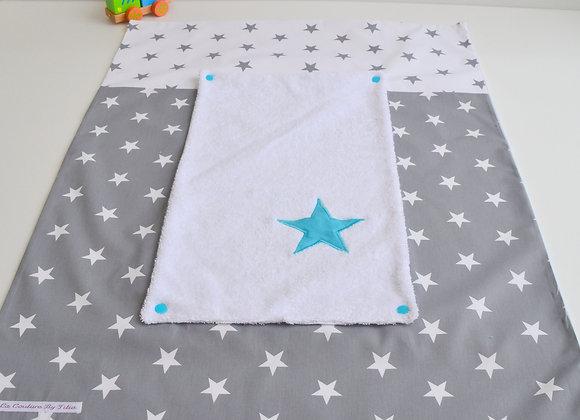 Housse de matelas à langer avec éponge étoiles gris anthracite et bleu turquoise