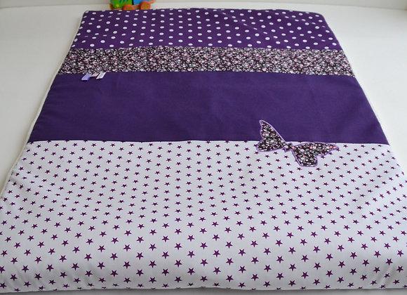 Couverture bébé personnalisable violet, blanc et Liberty