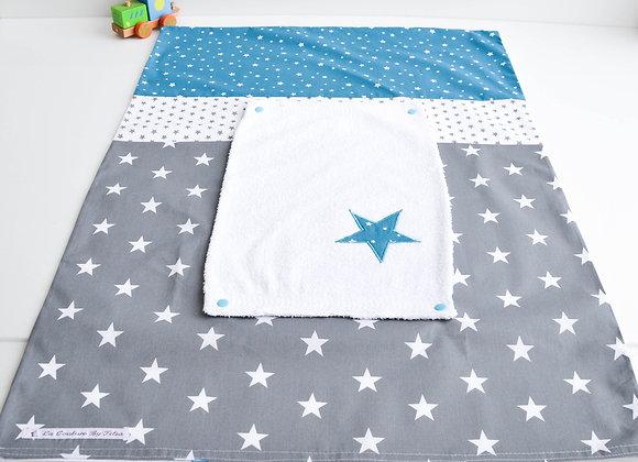 Housse de matelas à langer avec éponge gris anthracite et étoiles bleu pétrole