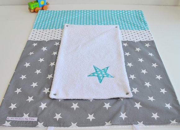 Housse de matelas à langer avec éponge gris anthracite et étoiles bleu turqu