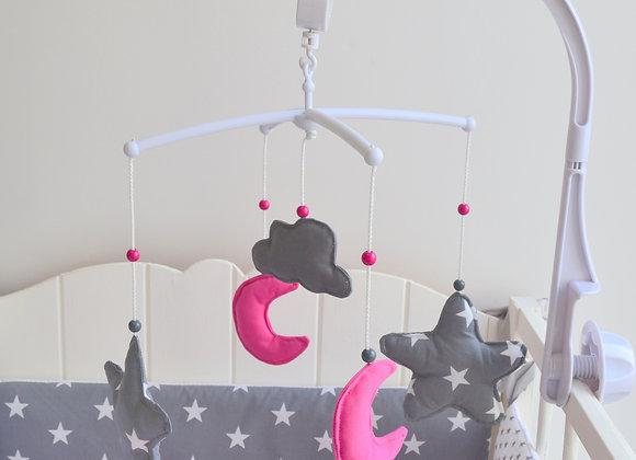 Mobile musical bébé papillon lune et nuage gris fuchsia et blanc