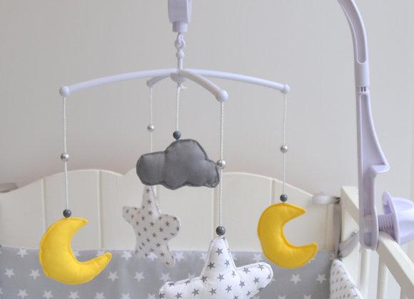 Mobile musical bébé étoiles lune nuage jaune et gris