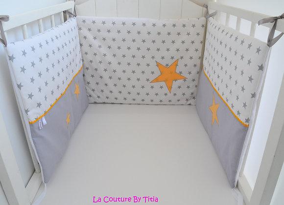 Tour de Lit Etoiles Gris Blanc et étoiles Clémentine