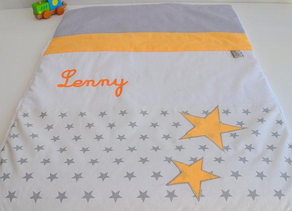 Couverture bébé personnalisable gris, blanc et étoiles orange clémentine