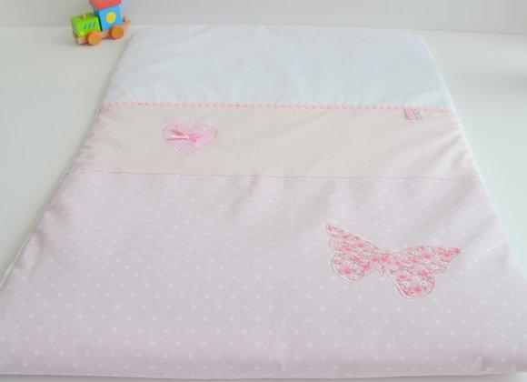 Couverture bébé personnalisable Shabby rose à pois blanc et papillon Liberty