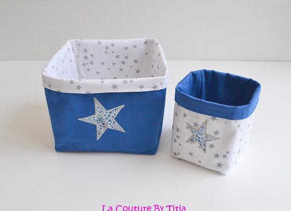 Lot de 2 panières corbeilles de rangement pluie d'étoiles, bleu et Liberty