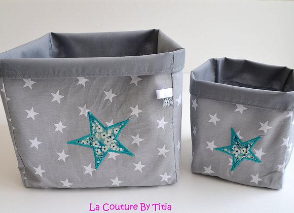Lot de 2 panières corbeilles de rangement étoiles gris et Liberty Mitsi Menthe
