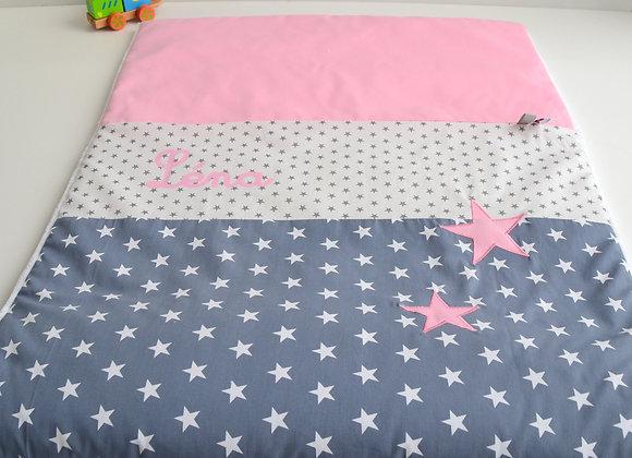 Couverture bébé personnalisable gris anthracite et étoiles rose
