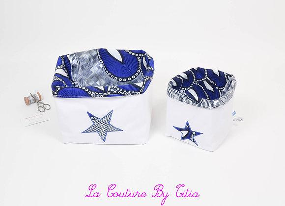 Lot de 2 panières corbeilles de rangement blanc et étoiles wax bleu