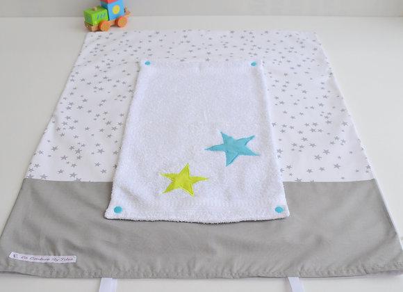 Housse de matelas à langer avec éponge étoiles gris vert anis et bleu turquoise