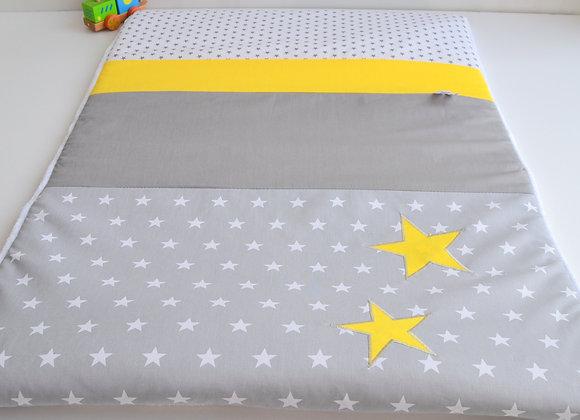 Couverture bébé personnalisable gris et étoiles jaune