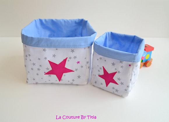 Lot de 2 panières corbeilles de rangement bleu, blanc et étoiles framboise