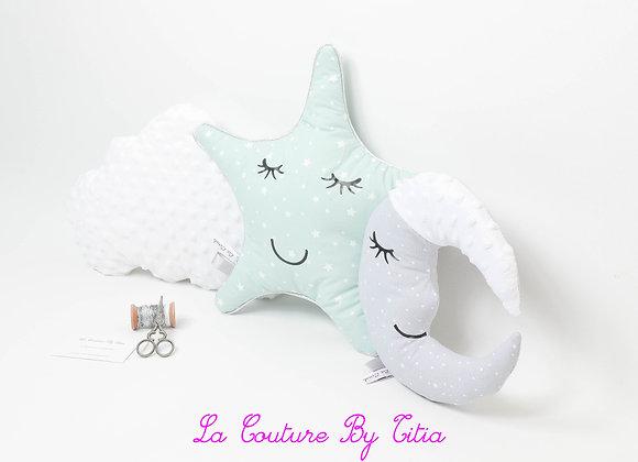 Lot 3 coussins de décoration lune gris, nuage minky blanc et étoile vert menthe