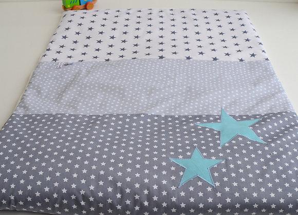 Couverture bébé personnalisable étoiles gris et bleu turquoise