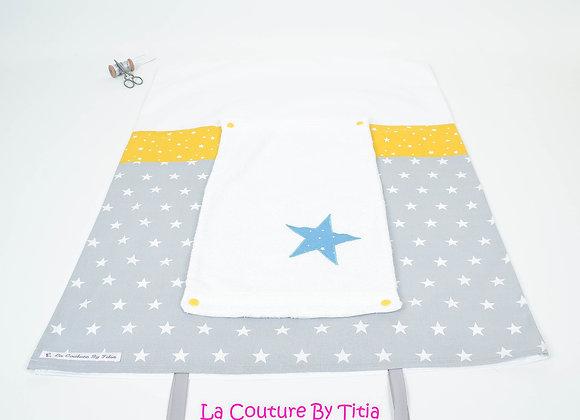 Housse de matelas à langer avec éponge gris, moutarde et étoiles bleu pétrole