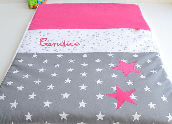Couverture bébé personnalisable gris anthracite et étoiles rose fuchsia