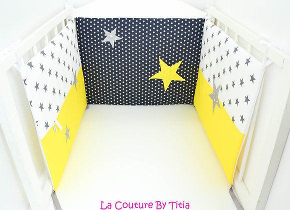 Tour de Lit étoiles gris, marine et chevron moutarde