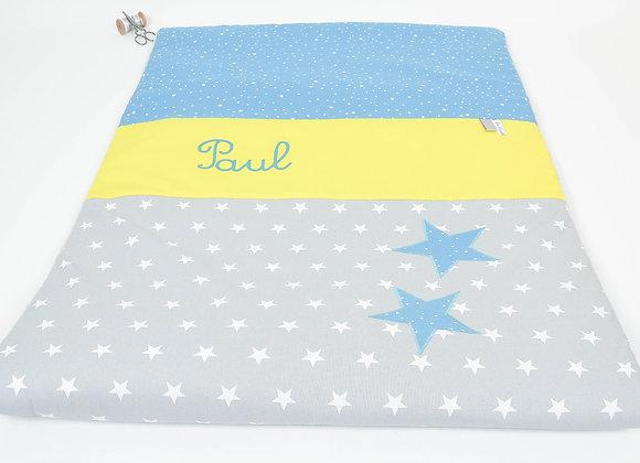 Couverture bébé personnalisable gris, jaune et étoiles bleu pétrole