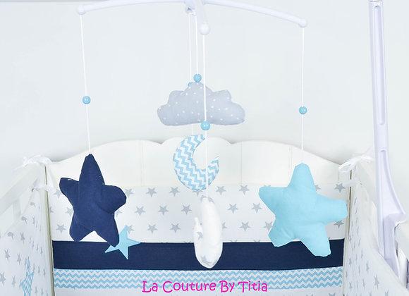 Mobile musical bébé lune chevron turquoise nuage minky et étoiles bleu marine