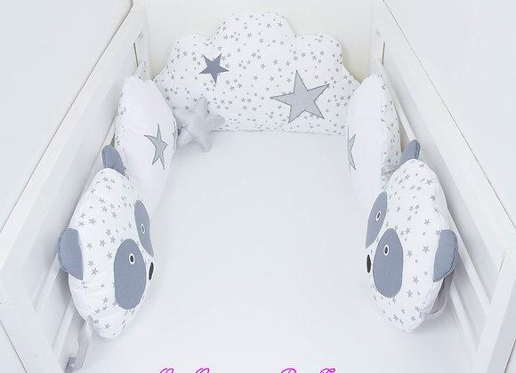 Tour de Lit nuage panda 5 coussins gris, blanc et étoiles argent
