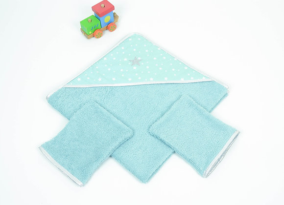 Cape de bain bébé 6/12 mois en éponge vert d'eau et dragon + 2 gants
