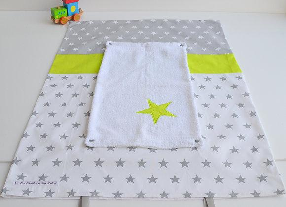 Housse de matelas à langer avec éponge blanc étoiles gris et vert anis