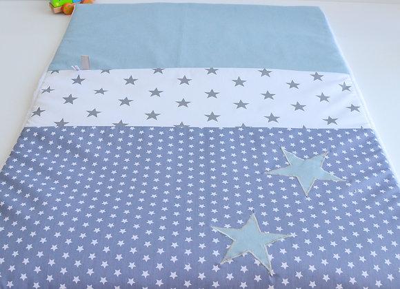Couverture Bébé personnalisable gris à étoiles et bleu gris