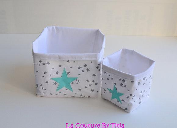Lot de 2 panières corbeilles de rangement blanc gris et étoiles vert