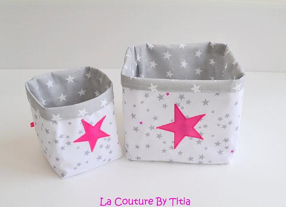 Lot de 2 panières corbeilles de rangement gris et blanc étoiles fuchsi