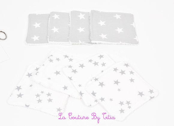 Lot de 8 lingettes éponge lavables, réutilisables blanc étoiles gris