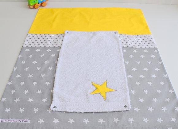 Housse de matelas à langer avec éponge gris et étoiles jaune