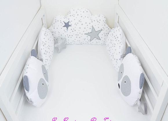 Tour de Lit nuage panda 5 coussins blanc étoiles gris et argent glitter