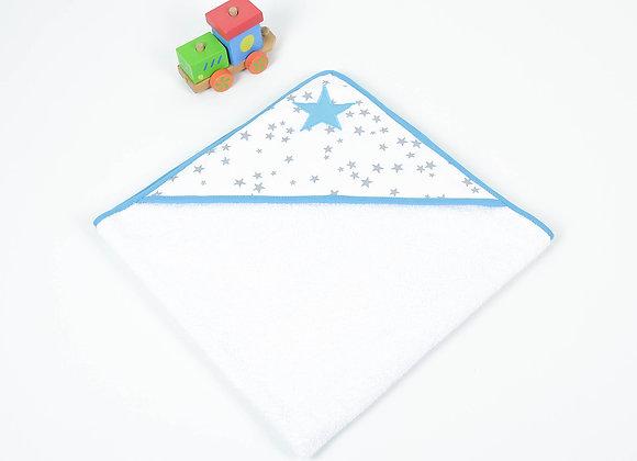 Cape de bain bébé en éponge bio gris, blanc et étoiles turquoise