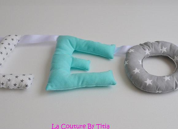 Guirlande prénom lettres décoration de chambre fait main Gris étoiles V