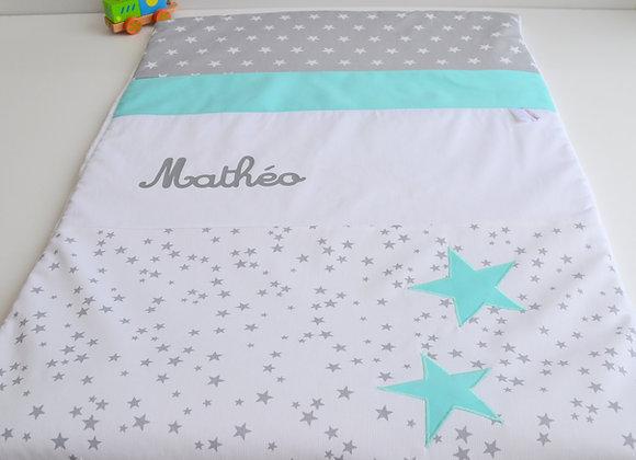 Couverture bébé personnalisable pluie d'étoile Gris et étoiles Vert