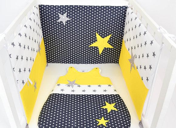 Tour de Lit et Gigoteuse gris foncé étoiles jaune et gris clair