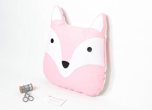 Coussin de décoration de chambre bébé renard rose et blanc