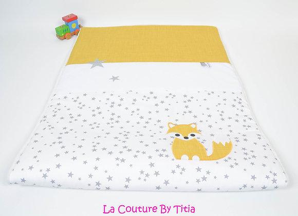 Couverture bébé blanc étoiles glitter, gris et renard moutarde