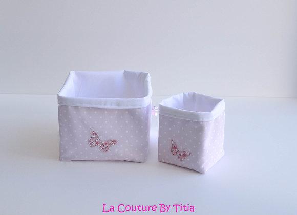 Lot de 2 panières corbeilles de rangement shabby chic rose et blanc papillon