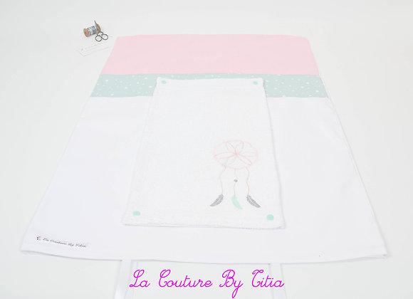 Housse de matelas à langer avec éponge blanc, rose et attrape rêves vert menthe