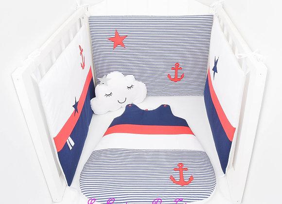 Tour de Lit 60/120 thème marin bleu marine, rayé blanc et ancre