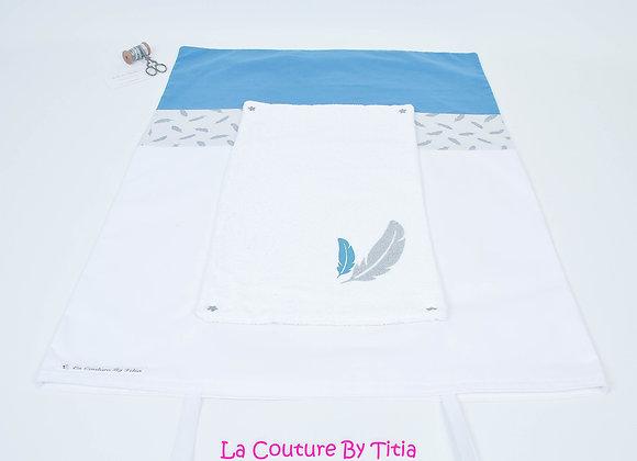 Housse de matelas à langer avec éponge blanc, plumes argent et bleu pétrole